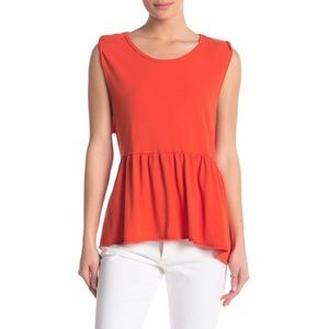 Free People anytime peplum Top Shapeless Red SM